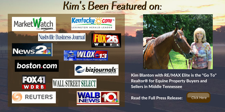 Kim Blanton has been featured on numerous sites for her expertise as an equestrian realtor